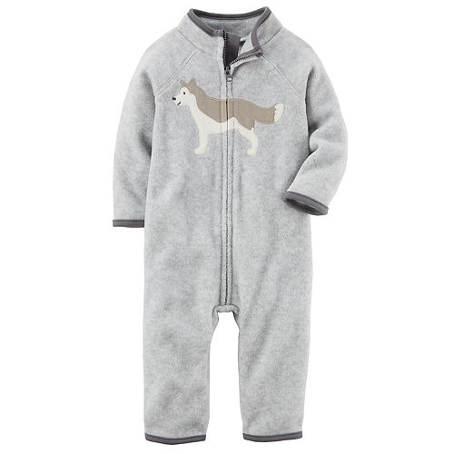 ae1584549 Baby Boy Carter's Wolf Heathered Fleece Jumpsuit