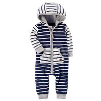Baby Boy Carter's Striped Hooded Fleece Jumpsuit