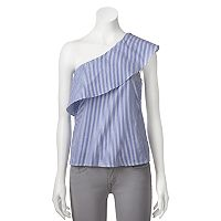 Juniors' Love, Fire One Shoulder Stripe Top