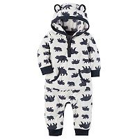 Baby Boy Carter's Bear Print Hooded Fleece Jumpsuit
