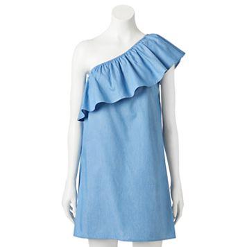 Juniors' Love, Fire Challis One Shoulder Ruffle Shift Dress
