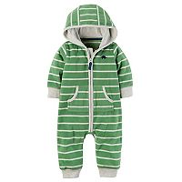 Baby Boy Carter's Striped Dino Hooded Fleece Jumpsuit