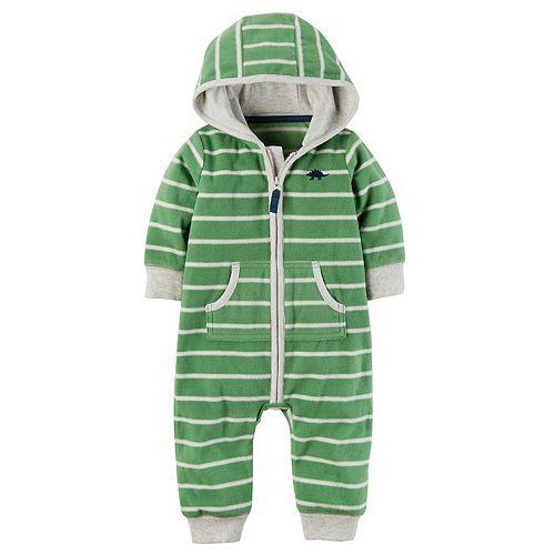 a7d803f36 Baby Boy Carter s Striped Dino Hooded Fleece Jumpsuit