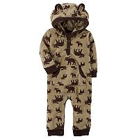 Baby Boy Carter's Moose Print Hooded Fleece Jumpsuit