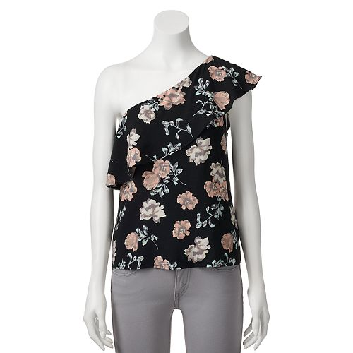 Juniors' Love, Fire One Shoulder Floral Print Top
