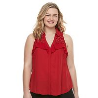 Juniors' Plus Size Candie's® Ruffled Lace Sleeveless Shirt