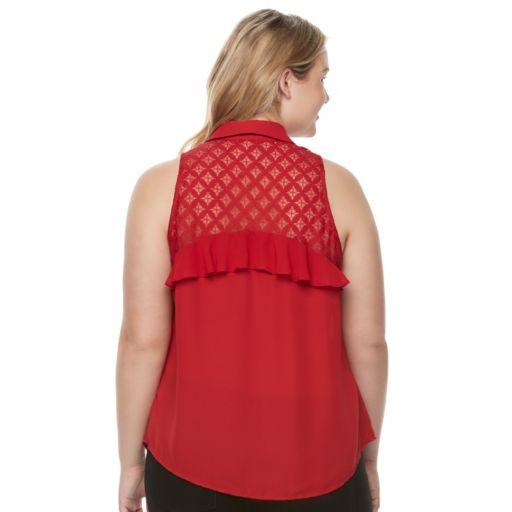 Juniors' Plus Size Candie's® Ruffled Lace Sleeveless Shirt