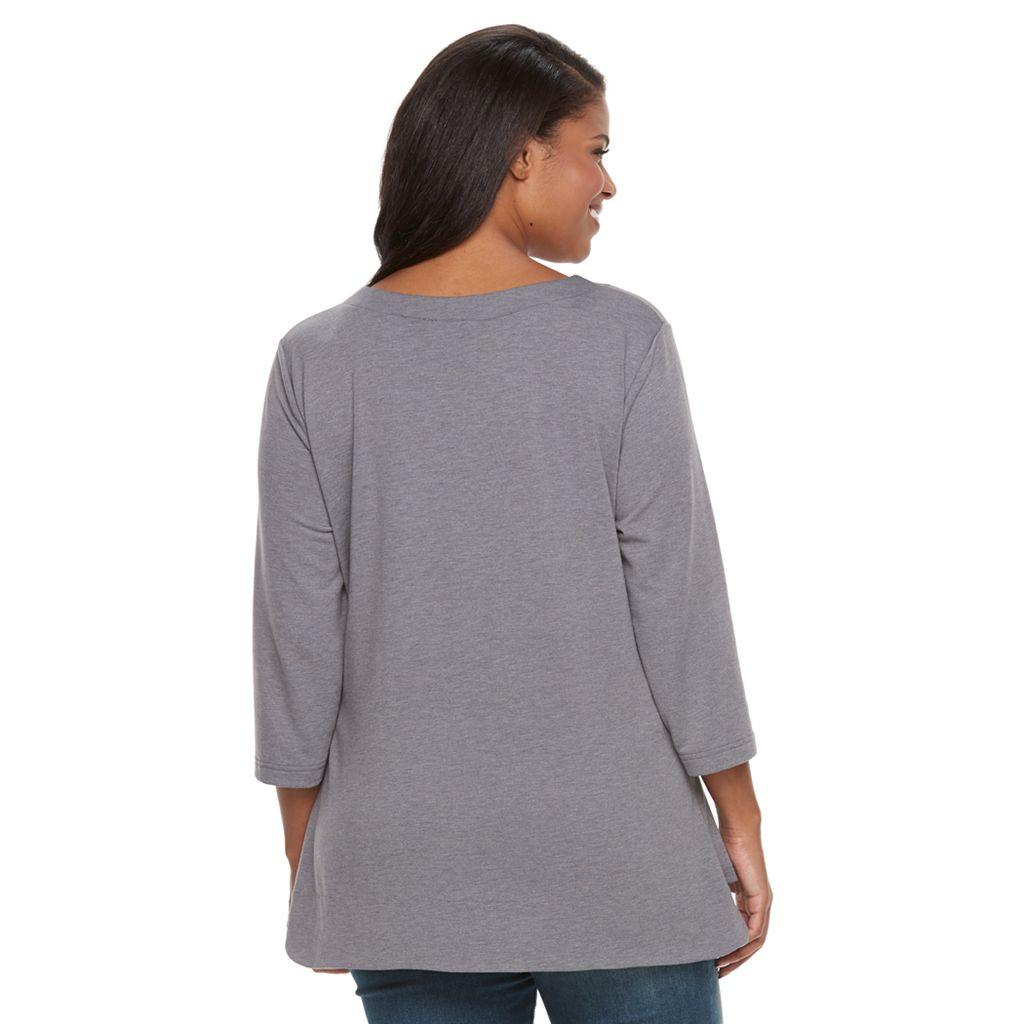 Plus Size Croft & Barrow® Zippered-Pocket Tunic