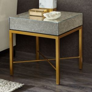 Madison Park Willa Mirrored End Table