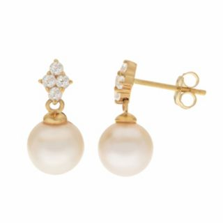 PearLustre by Imperial 14k Gold Freshwater Cultured Pearl & White Topaz Drop Earrings