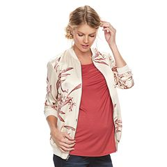 Maternity a:glow Floral Satin Bomber Jacket