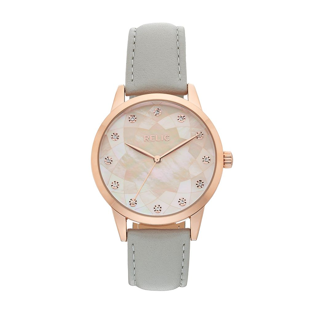 Relic Women's Erin Crystal Leather Watch