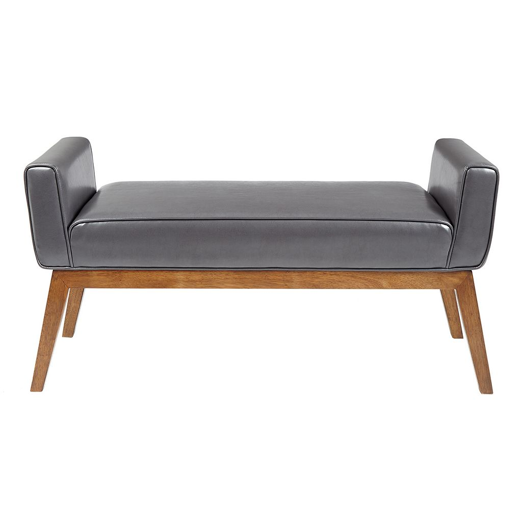 Madison Park Lillian Faux-Leather Bench
