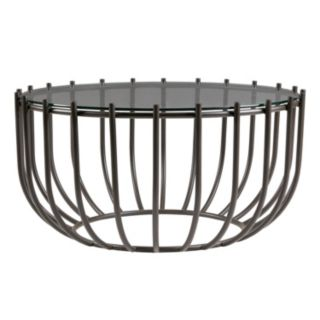 Madison Park Glass Top Drum Coffee Table