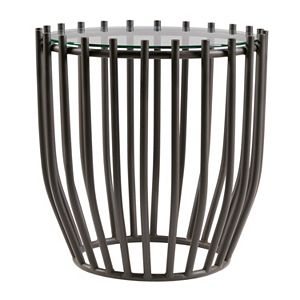 Madison Park Glass Top Drum End Table
