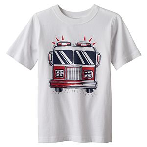 Boys 4-10 Jumping Beans® Short Sleeves Fire Truck Graphic Tee