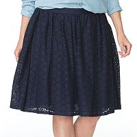 Plus Size Chaps Lace Skirt
