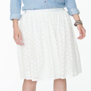Plus Size Chaps Lace Skirt