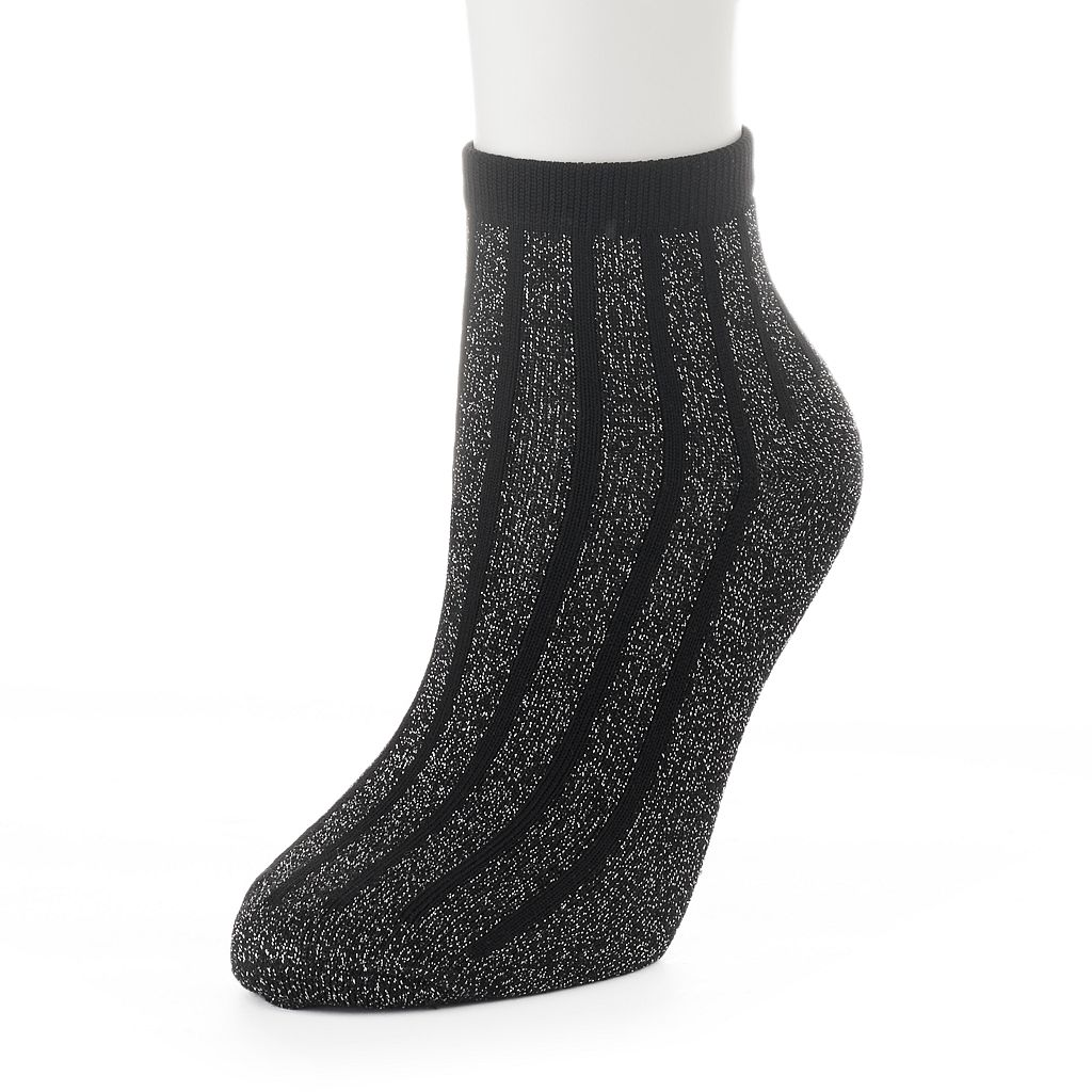 Women's Lurex Striped Quarter Socks