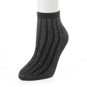 Women's Lurex Striped Quarter Socks