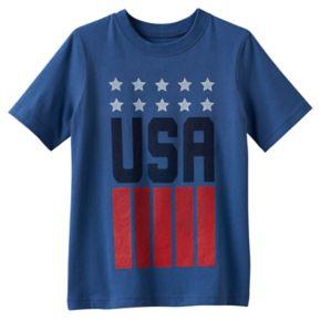 "Boys 4-10 Jumping Beans® Short Sleeve ""USA"" Blue Tee"