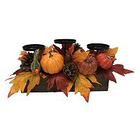 Celebrate Fall Together Artificial Pumpkin 3-Tier Candle Holder