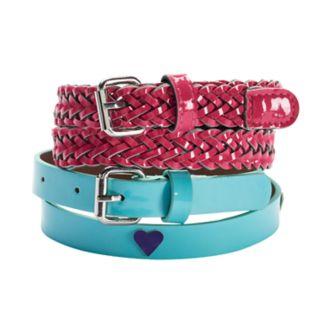 Girls 4-16 2-pk. Shiny Heart & Braided Belts