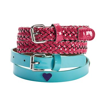 Girls 4-16 2-pk. Shiny Heart & Braided Belts