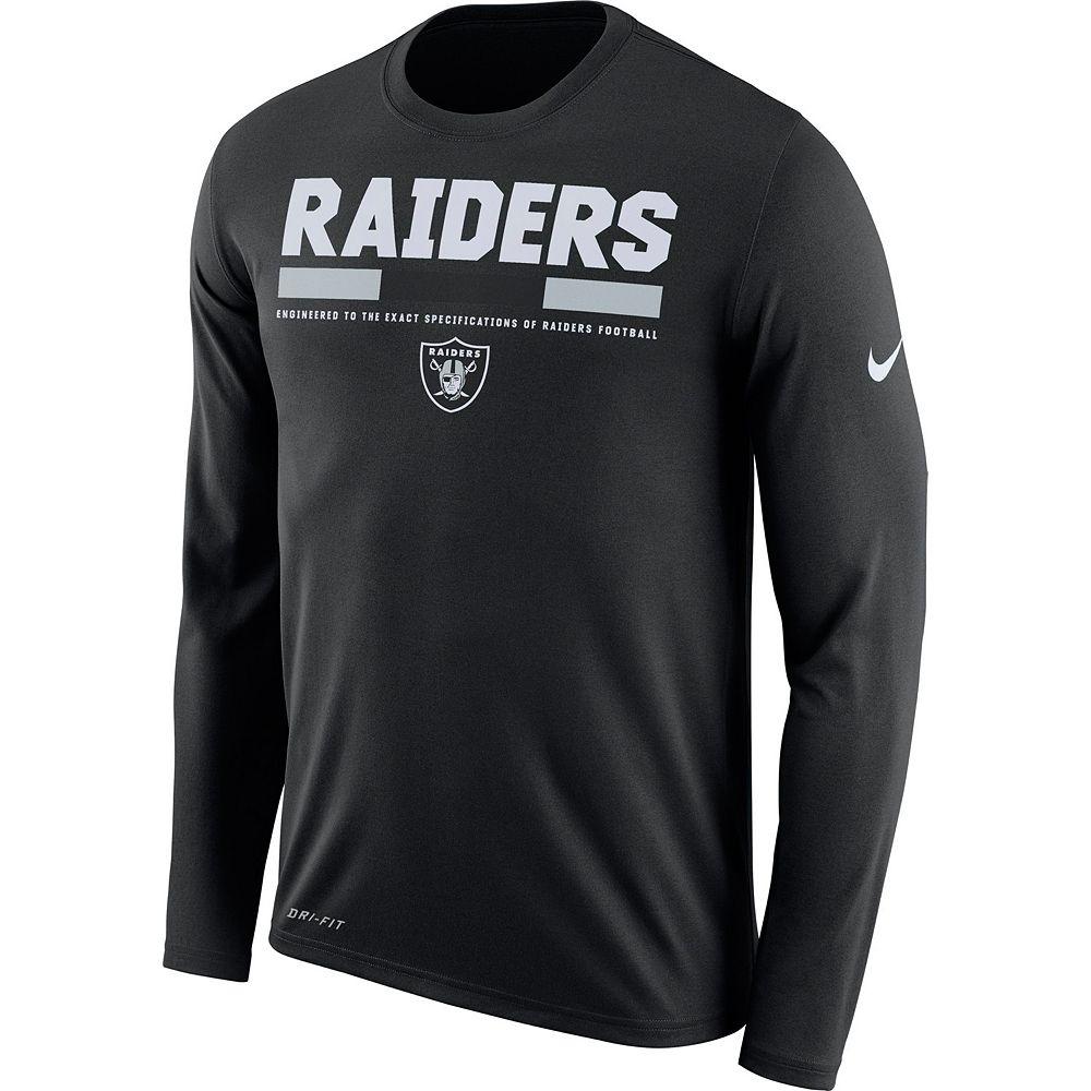 Black t shirts kohls - Men S Nike Oakland Raiders Legend Staff Dri Fit Long Sleeve Tee