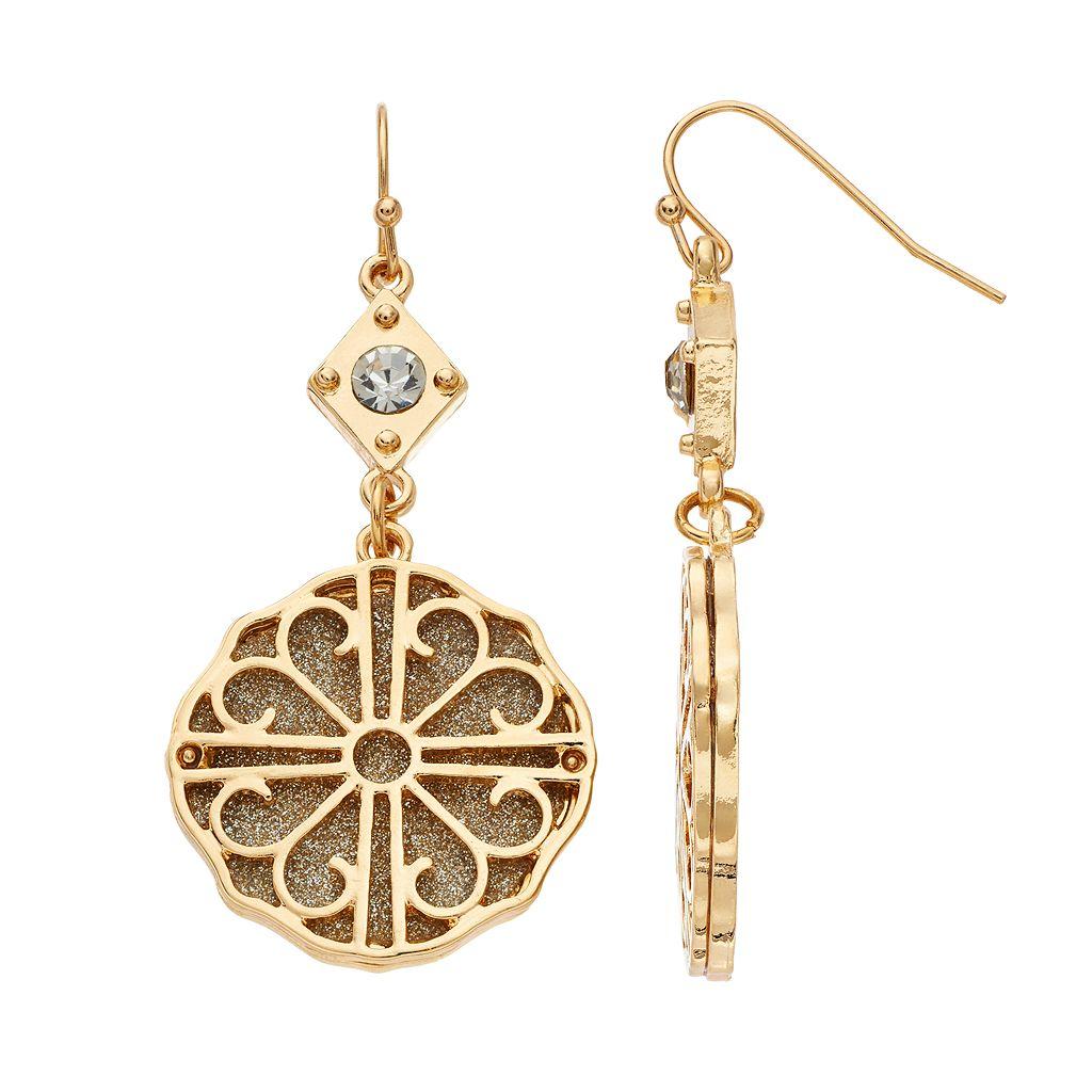 Glittery Filigree Medallion Nickel Free Drop Earrings