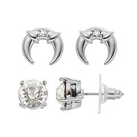 Jennifer Lopez Solitaire Stud & Crescent Drop Earring Set