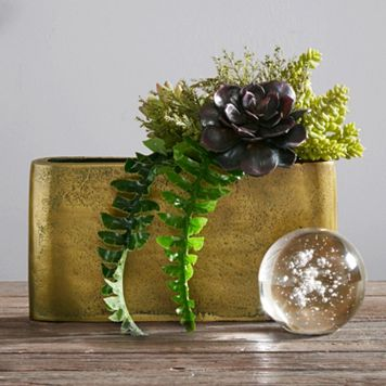 INK+IVY Henley Small Slender Brass Vase