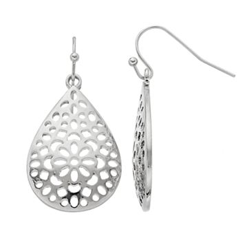 Openwork Nickel Free Teardrop Earrings