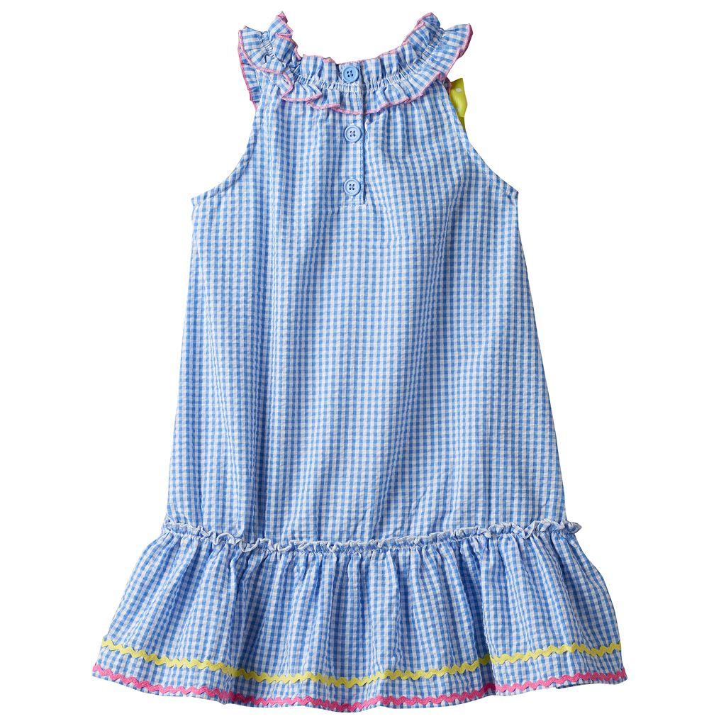 Girls 4-6x Nanette Seersucker Sleeveless Dress With Applique Detail