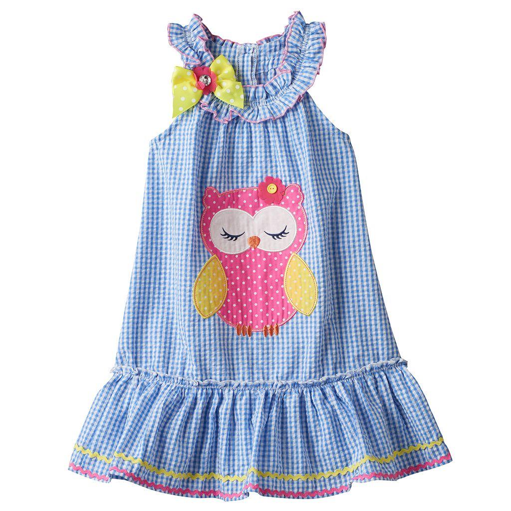 Toddler Girl Nanette Seersucker Sleeveless Dress With Applique Detail