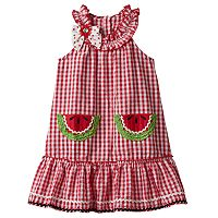 Baby Girl Nanette Seersucker Sleeveless Dress With Applique Detail