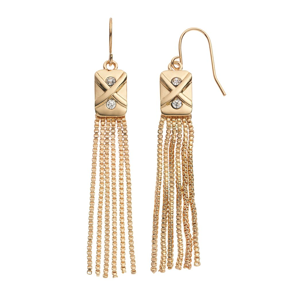 Jennifer Lopez Box Chain Fringe Earrings