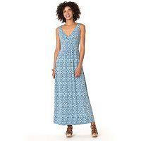 Women's Chaps Tile-Print Jersey Maxi Dress