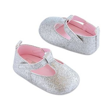 Baby Girl Carter's Silver T-Strap Mary Jane Crib Shoes