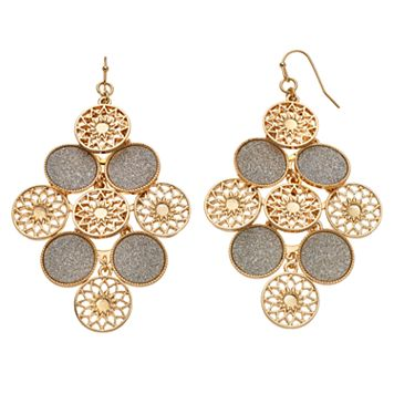 Glittery & Starburst Disc Nickel Free Kite Earrings