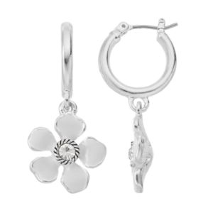 Napier Flower Drop Nickel Free Hoop Earrings