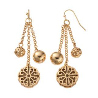 Filigree Medallion & Bead Nickel Free Linear Drop Earrings