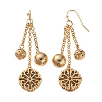 Filigree Medallion & Bead Nickel Free Linear Drop Earrings