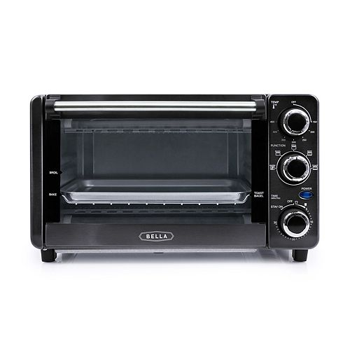 Bella Ultimate Elite Collection 4-Slice Black Stainless Steel Finish Toaster Oven