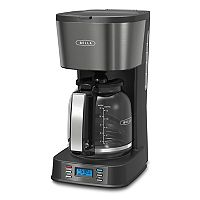 Bella Ultimate Elite Collection 12-Cup Black Stainless Steel Finish Coffee Maker
