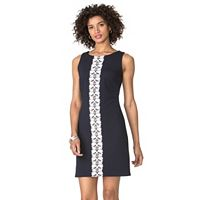 Women's Chaps Lace-Trim Jacquard Dress