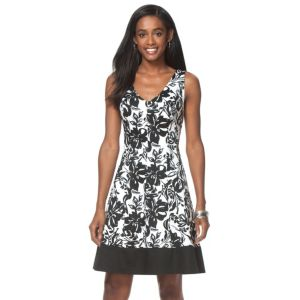 Women's Chaps Floral Fit & Flare Sateen Dress