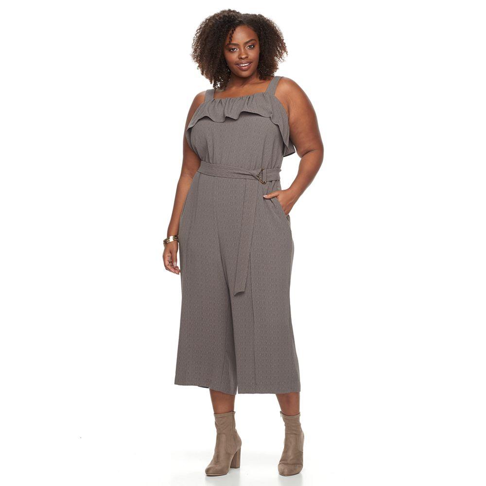 Size Apt. 9® Textured Flounce Jumpsuit