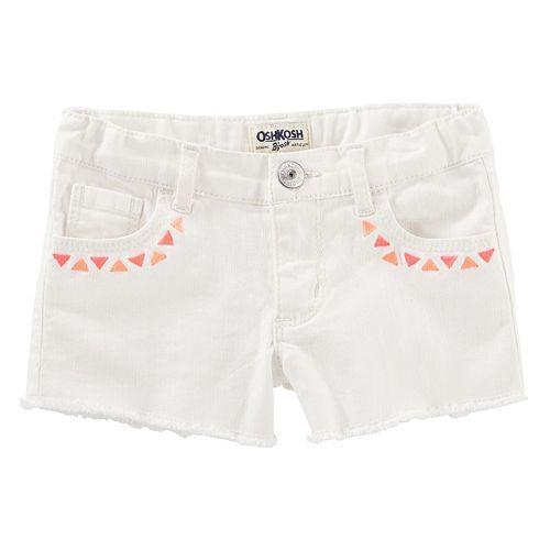 Girls 4-12 OshKosh B'gosh® Geometric Embroidered Frayed Shorts