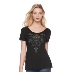 Women's Rock & Republic® Strappy Embroidered Tee